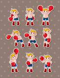 Boxer stickers. Cartoon vector  illustration Royalty Free Stock Photo