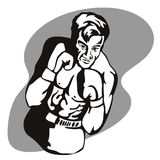 Boxer striking a pose. Vector art on the sport of boxing stock illustration
