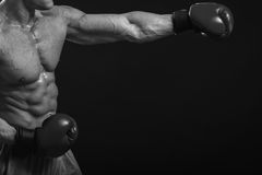 Boxer. Strong boxer on a black background. Brawny guy in boxing gloves Stock Photography