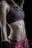 Boxer, strong woman athlete with boxing gloves stock images