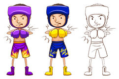 Boxer in three different drawing styles Royalty Free Stock Images