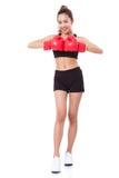 Boxer - tragende boxende rote Handschuhe des Eignungsfrauen-Verpackens Stockfoto