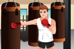 Boxer training in the gym. A vector illustration of boxer training on a punching bag in the gym Royalty Free Stock Images