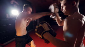 The boxer is training with his opponent at fighting club. stock footage