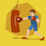 Boxer training with punching bag cartoon vector Royalty Free Stock Images
