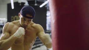 Boxer training punching bag Stock Images