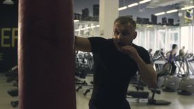 Boxer training punching bag stock video footage