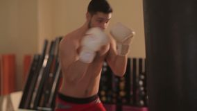 Boxer training with punching bag. Young man boxing in gym stock video