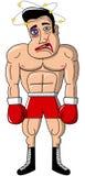 Boxer-Verpacken-Mann-muskulöses geschlagen verletzt lokalisiert Stockbild