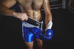 Boxer wearing boxing gloves. Mid section of boxer wearing boxing gloves in boxing ring Stock Images