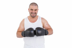 Boxer wearing head protector and gloves Royalty Free Stock Images