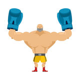Boxer winner. Athlete in blue gloves. Bodybuilder with boxing gl Royalty Free Stock Images