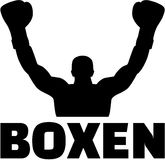 Boxer winning silhouette with german word Stock Photos