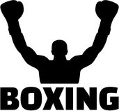 Boxer winning silhouette with word Royalty Free Stock Image