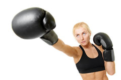 Boxer woman with black boxing gloves Stock Image