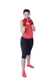 Boxer woman during boxing exercise Royalty Free Stock Images