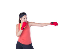 Boxer woman during boxing exercise Royalty Free Stock Photo