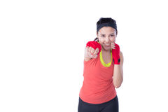 Boxer woman during boxing exercise Stock Photography