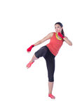 Boxer woman during boxing exercise Royalty Free Stock Image