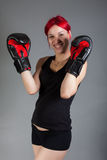 Boxer woman during boxing exercise. Portrait of boxer woman during boxing exercise royalty free stock photography