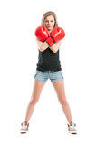 Boxer woman crossing the arms Stock Images