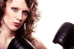 Boxer woman in gloves training kick boxing. Stock Image
