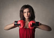 Boxer woman Royalty Free Stock Images