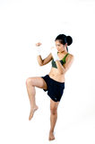 Boxer Woman practice kicking Stock Photos