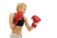Boxer woman with red boxing gloves Stock Images