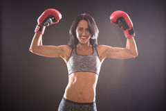 Boxer woman with red boxing gloves on Stock Photo