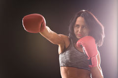 Boxer woman with red boxing gloves on Stock Image