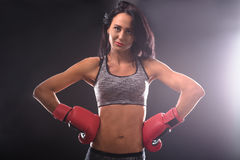 Boxer woman with red boxing gloves on Stock Images