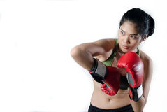 Boxer Woman With Red Glove. Young Boxer Woman With Red Glove Stock Photos