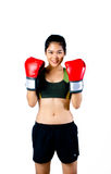 Boxer Woman With Red Glove Stock Image