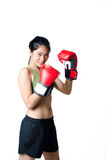 Boxer Woman With Red Glove. Young Boxer Woman With Red Glove Stock Image