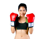 Boxer Woman With Red Glove Stock Photos