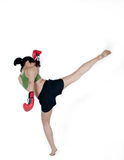 Boxer Woman With Red Glove. Young Boxer Woman With Red Glove practice kicking Royalty Free Stock Photos