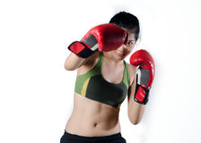 Boxer Woman With Red Glove Stock Photo