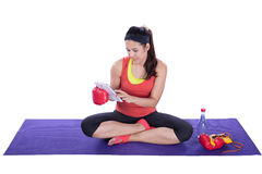 Boxer woman with tablet Stock Photography