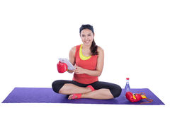 Boxer woman with tablet Royalty Free Stock Photos