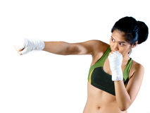 Boxer Woman With White Handwrap doing shadow boxin Stock Photo