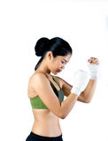 Boxer Woman With White Handwrap doing shadow boxin Stock Photos