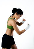Boxer Woman With White Handwrap doing shadow boxing Royalty Free Stock Photo