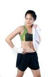 Boxer Woman With White Handwrap Stock Photo
