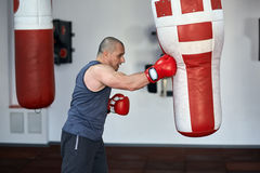 Boxer working on punchbags Royalty Free Stock Photos