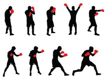 Boxers. Vector image of nine boxers Stock Photography