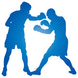 Boxers. Two boxers on a blue background Royalty Free Stock Photo
