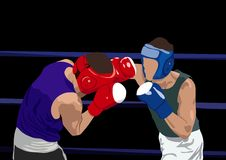 Boxers. Two boxers fighting on the ring Stock Images