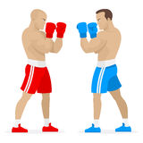 Boxers athletes stand in rack Royalty Free Stock Photos