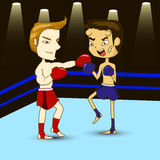 Boxers. Fight on the boxing ring Royalty Free Stock Photography